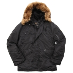 Куртка аляска Alpha Industries N-3B regular, Parka, black-black