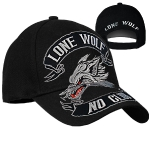 "Бейсболка Hot Leathers ""Lone Wolf No Club"" (Black)"