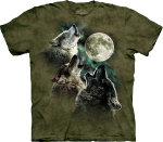 Футболка с 3D эффектом The Mountain Three Wolf Moon in Olive
