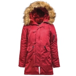 Куртка аляска Alpha Industries женская N-3B W Parka, commander red-orange