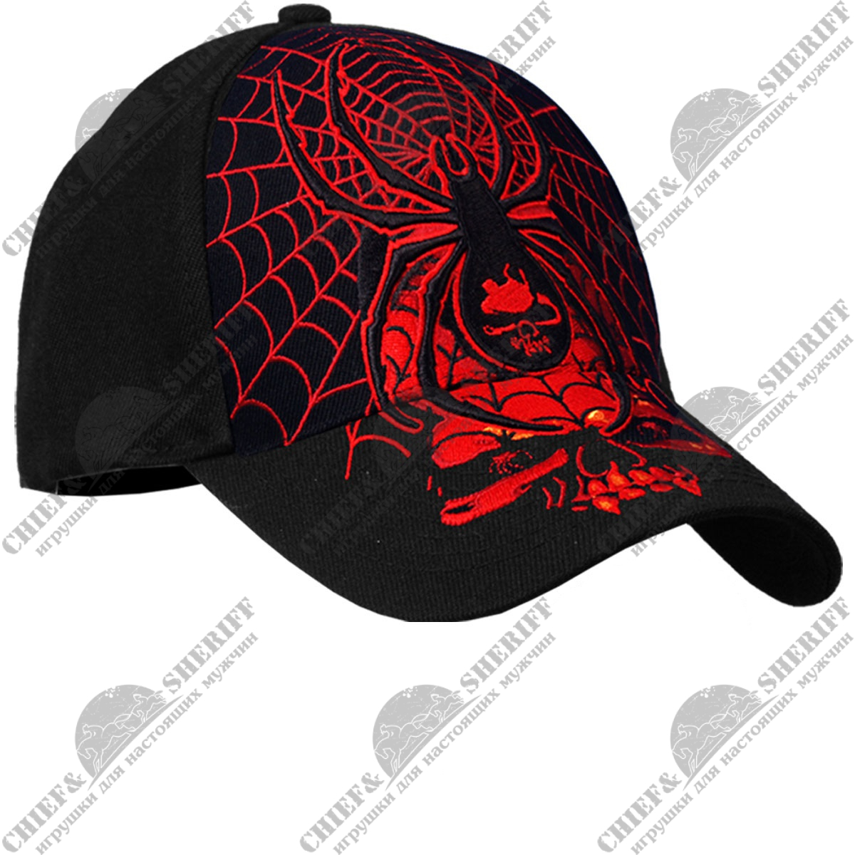 "Бейсболка Hot Leathers ""Raised Embroidery Spider"" (Black)"