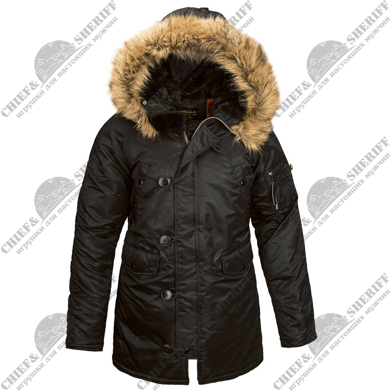 Куртка аляска Alpha Industries женская N-3B W Parka, black-orange