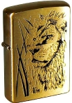Зажигалка Zippo Proud Lion Brushed Brass, 204B Proud Lion