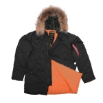 Куртка аляска Alpha Industries slim Fit N-3B, Parka, black-orange, натуральный мех