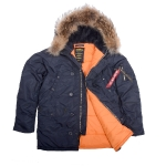 Куртка аляска Alpha Industries slim Fit N-3B, Parka, blue-orange, натуральный мех