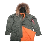 Куртка аляска Alpha Industries slim Fit N-3B, Parka, green-orange, натуральный мех