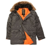 Куртка аляска Alpha Industries slim Fit N-3B, Parka, grey-orange