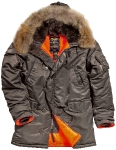 Куртка аляска Alpha Industries Slim Fit N-3B, Parka, grey-orange, натуральный мех