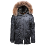 Куртка аляска Alpha Industries Slim Fit N-3B, Parka, steel blue-orange, натуральный мех