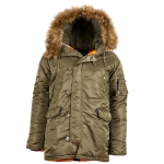 Куртка аляска Alpha Industries slim Fit N-3B, Parka, vintage olive-orange
