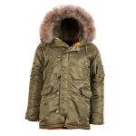 Куртка аляска Alpha Industries Slim Fit N-3B, Parka, vintage olive-orange, натуральный мех