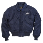 Куртка бомбер Alpha Industries CWU-45P Nomex Mil-Spec Flight Jacket, синяя, replica blue
