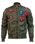 Куртка бомбер Top Gun MA-1  Nylon Bomber Jacket With Patches, olive, TGJ1540PO