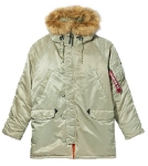 Куртка аляска Alpha Industries slim Fit N-3B GEN2 Parka, dark khaki-orange
