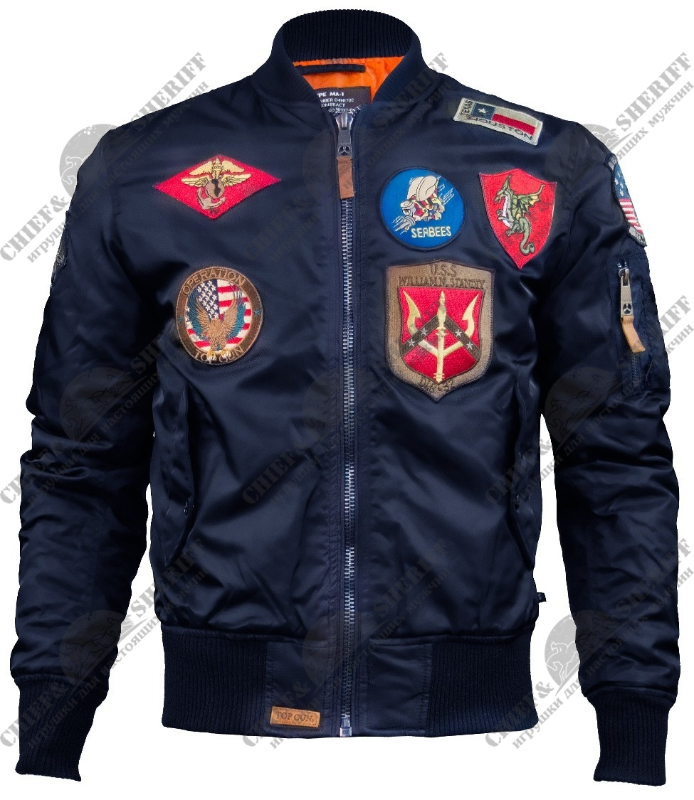 Куртка бомбер Top Gun MA-1  Nylon Bomber Jacket With Patches, navy, TGJ1540PN