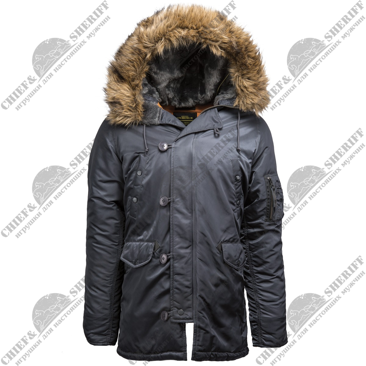 Куртка аляска Alpha Industries slim Fit N-3B, Parka, steel blue-orange