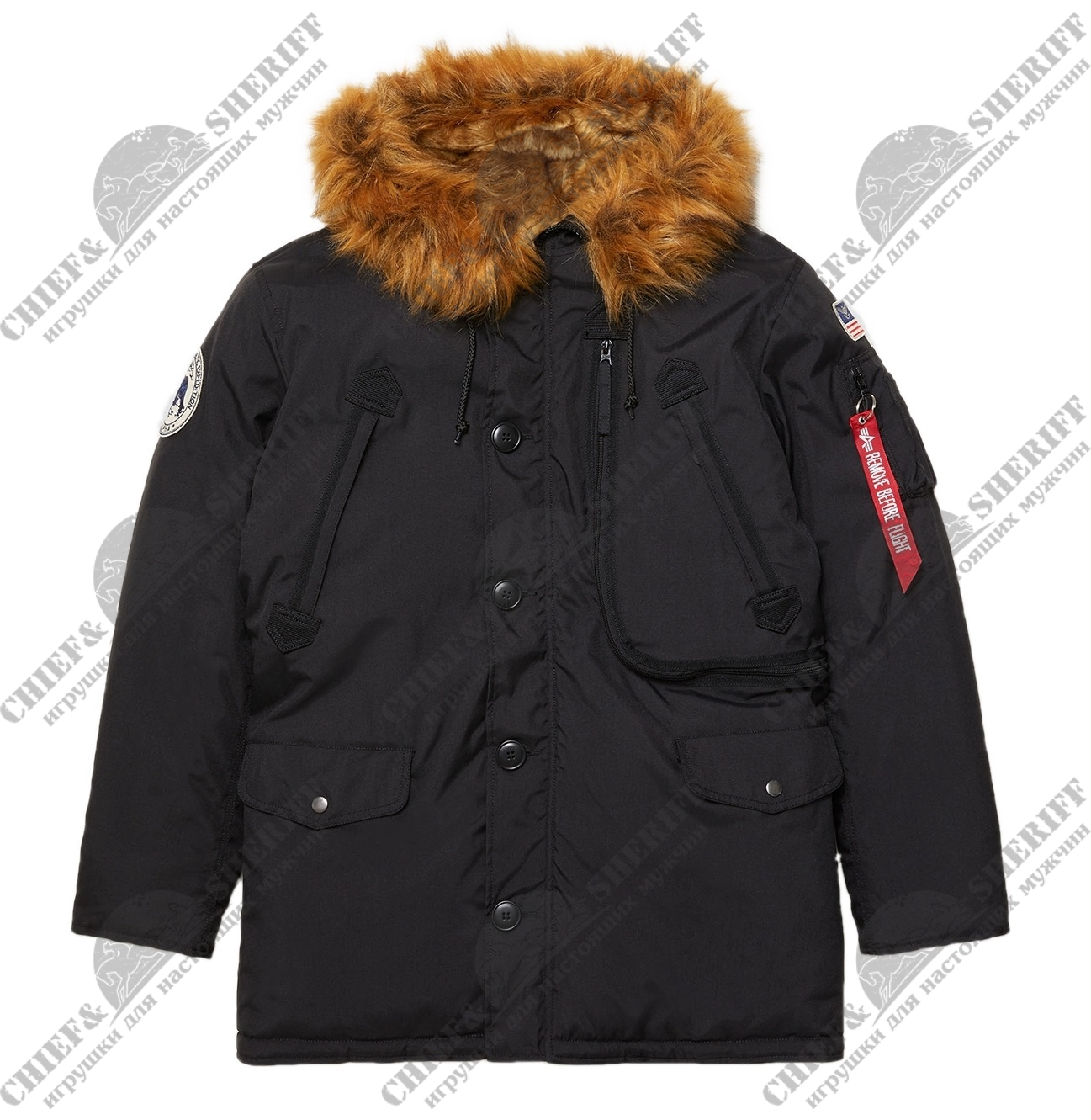 Куртка аляска Alpha Industries N-3B Alpine parka, black, MJN49503B