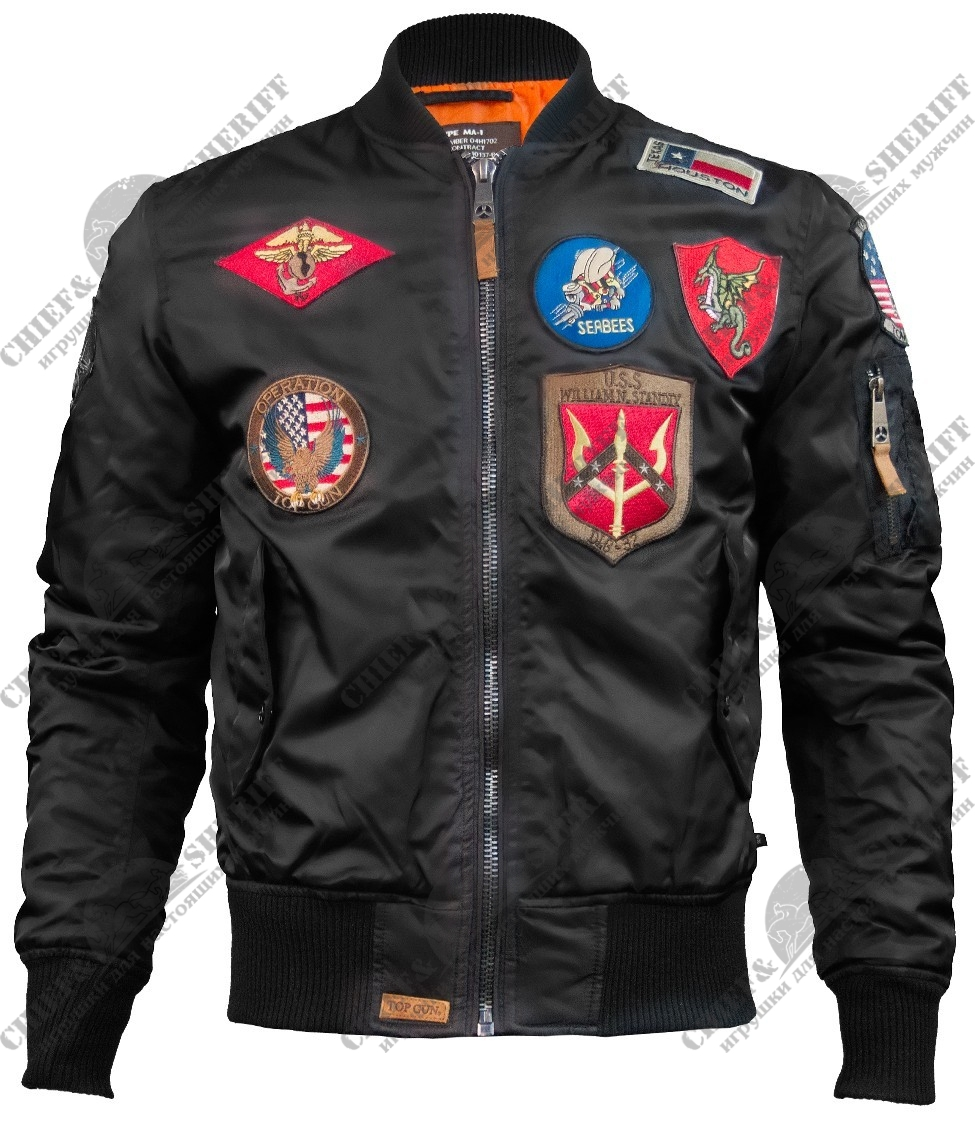 Куртка бомбер Top Gun MA-1  Nylon Bomber Jacket With Patches, black, TGJ1540PB