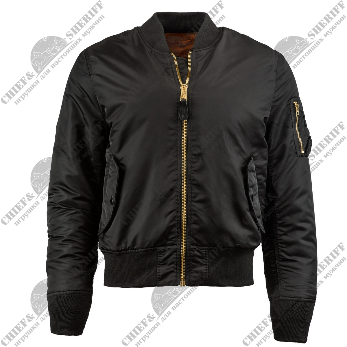 Куртка бомбер Alpha Industries MA-1 Slim Fit Flight Jacket, black, MJM44530B