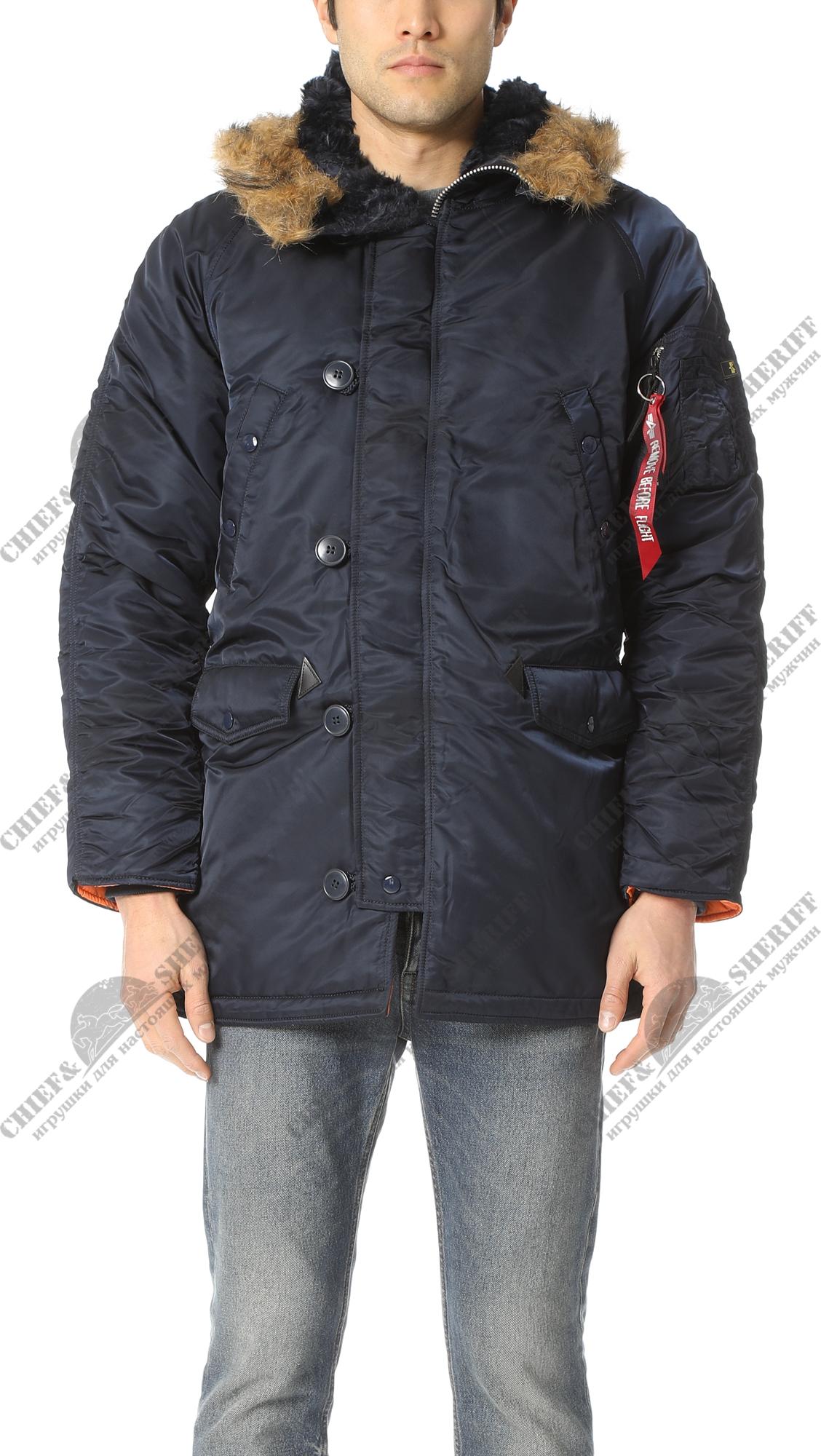 96d046612aa0f ... Куртка аляска Alpha Industries slim Fit N-3B, Parka, blue-orange ...