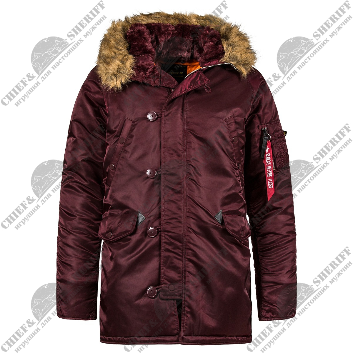 Куртка аляска Alpha Industries Slim Fit N-3B Parka, maroon-orange