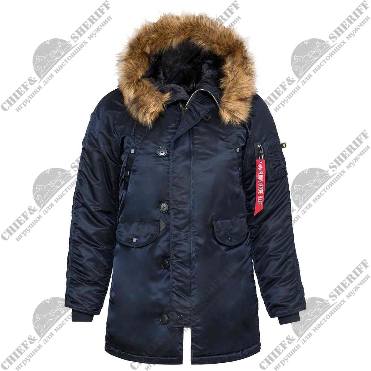 910344eb Куртка аляска Alpha Industries женская N-3B W Parka, replica blue-orange ...